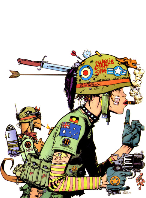 The last reblog of this had the WORST TAGS EVER. <3 <3 <3 Tank Girl by artist Jamie Hewlett , who is the co-creater of virtual band Gorrilaz. jointhewisdom:  Pimp.