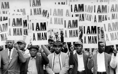 """Memphis sanitation workers strike in 1968 with ""I Am A Man"" posters, which emerged as a unifying civil rights theme."" photo by Richard L. Copley"