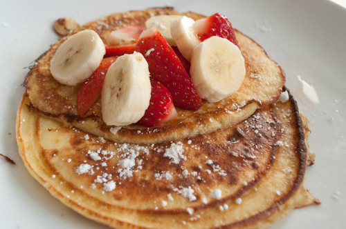 Ricotta Cheese Lemon PancakesHomemade, with strawberry and bananas