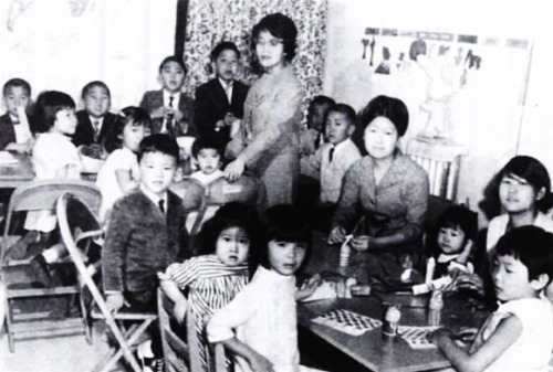 A Sunday school class of First Korean United Methodist Church (FKUMC) 1964. (Courtesy of Chang Yong Lee.) In the late 1960s, Korean American Sunday schools were formed to teach Korean culture and language in the Chicago area. It is believed that the first Korean school was the Chicago Korean School, which was established by the eighth president of the Korean American Association of Chicago, Paul Park and the secretary general of the YMCA, Rev. Young Hee Park. The first classes were held in the YMCA building on Lincoln and Barry Street in 1971. Sook Ja Kim was one of the first Korean language teachers in the Chicago metropolitan area.