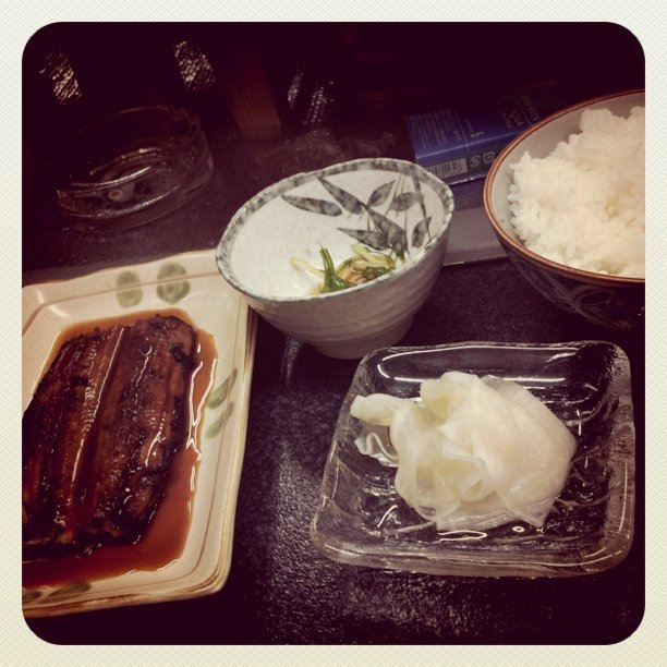 Last Thursday's dinner: grilled eel, Japanese pickles and rice.