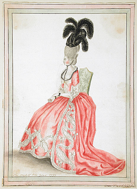 Dress of the year 1777, by Ann Frankland Lewis Another bold pairing of black and pink.  I love the ribbons (?) tied around her wrists.