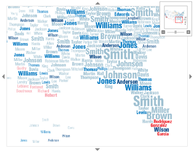 "A typographic map of the top 25 surnames in each US State, their frequency and their country of origin.  ""What's in a Surname? A new view of the United States based on the distribution of common last names shows centuries of history and echoes some of America's great immigration sagas. To compile this data, geographers at University College London used phone directories to find the predominant surnames in each state. Software then identified the probable provenances of the 181 names that emerged.  An interactive version of the map is available on National Geographic (they're running a printed version in the February magazine). Details behind the project are from Spatial Analysis."