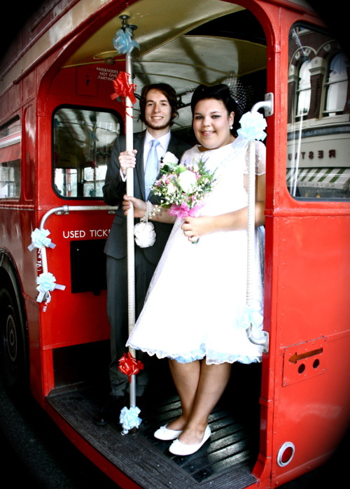 Thought I'd join in with the plus-size bride submissions.  I think on a wedding day more than anything the pressure to look perfect and 'lose that extra weight' is massive… so I think its a very brave step for those of us who choose to go against the norm. From the very beginning I knew I wasn't going to engage in dangerous crash dieting, I've been fat all my life so why would I change? My husband asked me to be his bride just as I am, not on the condition that I lose weight. So it always upsets me when bride's think they have to lose weight to look 'perfect'. We're beautiful just the way we are, and I have to say that on my wedding day I truly did feel perfect, I had the privilege of wearing a one-of-a-kind hand made dress as my auntie is a seamstress and created it to fit my body perfectly. Submitted by melasaurus