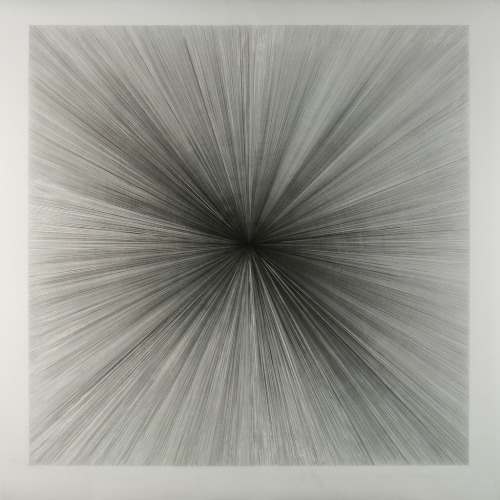 "untitled (lines ""y"" from / towards the center)2011_01_25graphite on polyester drafting film 42"" x 42"" (106.68 x 106.68)cmMatt Niebuhr On exhibit - March 2011,  Stumptown - on Division st. Line: A geometrical object that is straight, infinitely long and infinitely thin. A line is one-dimensional. It has zero width (in mathematics). If you draw a line with a pencil, the pencil mark has a measurable width. The pencil line is therefor just a way to illustrate the idea of a line on paper. The line drawn on paper (or drawn on any other media visible to the eye) is always only just a representation of the idea of a line. Again, strictly speaking, the idea of a line is that it has zero width and infinite length - in this sense we can not see with our eyes the idea of a line directly - only indirectly, as an approximate representation. This does not seem to bother anyone… (me included - though it does cause me to wonder…) Sometimes, just a simple line can be quite beautiful… my preference is to see representations of lines, drawn by hand.  Words are not literature until given a specific order, numbers are not mathematics…"