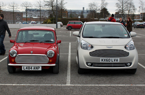 bigblogg:  Classic Mini vs. Aston Martin Cygnet. Today's small looks big somehow.