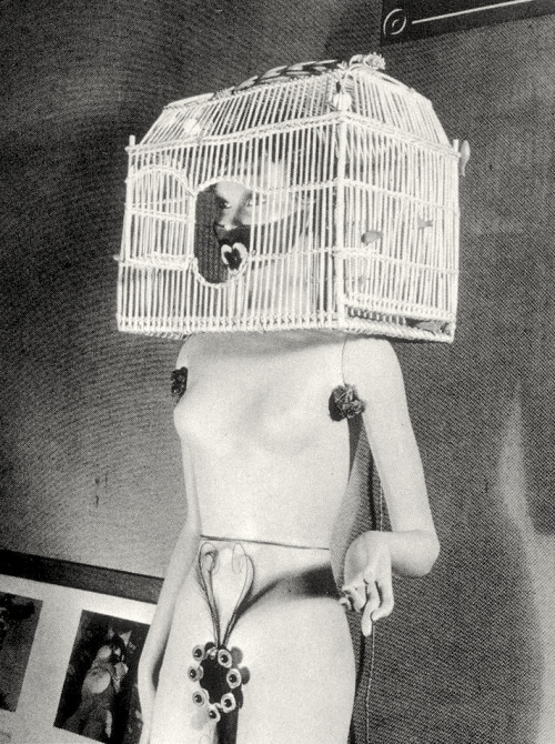 surrealism:  Mannequin by André Masson, 1938. Sculpture for the International Surrealism Exhibition Shown at the Galerie St. Phillipe du Roule, Paris, 1938.  This has to be the worst bridesmaid ensemble I ever saw. Ladies, I feel your pain.