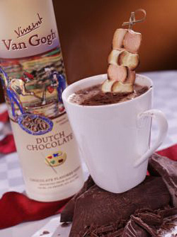 Dutch Hot Chocolate For everyone who is currently snowbound 2 ounces Van Gogh Dutch Chocolate Vodka 4 ounces Hot Chocolate 3 skewered Roasted Marshmallows Whipped Cream Pour Van Gogh Dutch Chocolate Vodka into a mug. Add hot chocolate. Place skewered marshmallows into hot chocolate. Add whipped cream garnish.