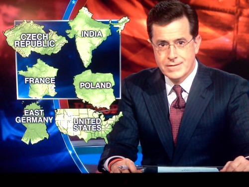 "inothernews:  Stephen Colbert names six democracies that arose following popular uprisings that Fox ""News"" host Sean Hannity couldn't name, besides Iraq."
