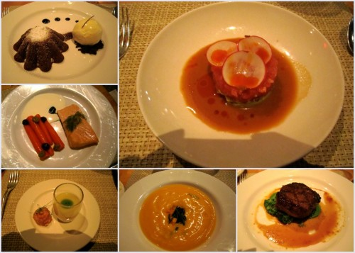 2011 NYC Winter Restaurant Week I dined at Nougatine at Jean Georges; a contemporary French fusion restaurant located on Columbus Circle inside the Trump Tower and Hotel. It has a great view that overlooks Central Park. Overall, the food was good.  But I must say that I was disappointed with the main course because the steak was just too salty. My favorite of the night was the tuna tartar with ginger marinade appetizer and the warm chocolate cake for dessert. Zagat ratings are pretty high at 27/23/25, food/decor/service. I think one day I would want to come back to try their lobster burger that I saw on their regular menu. That sounded really good. Nougatine, 1 Central Park West, New York, NY 10023