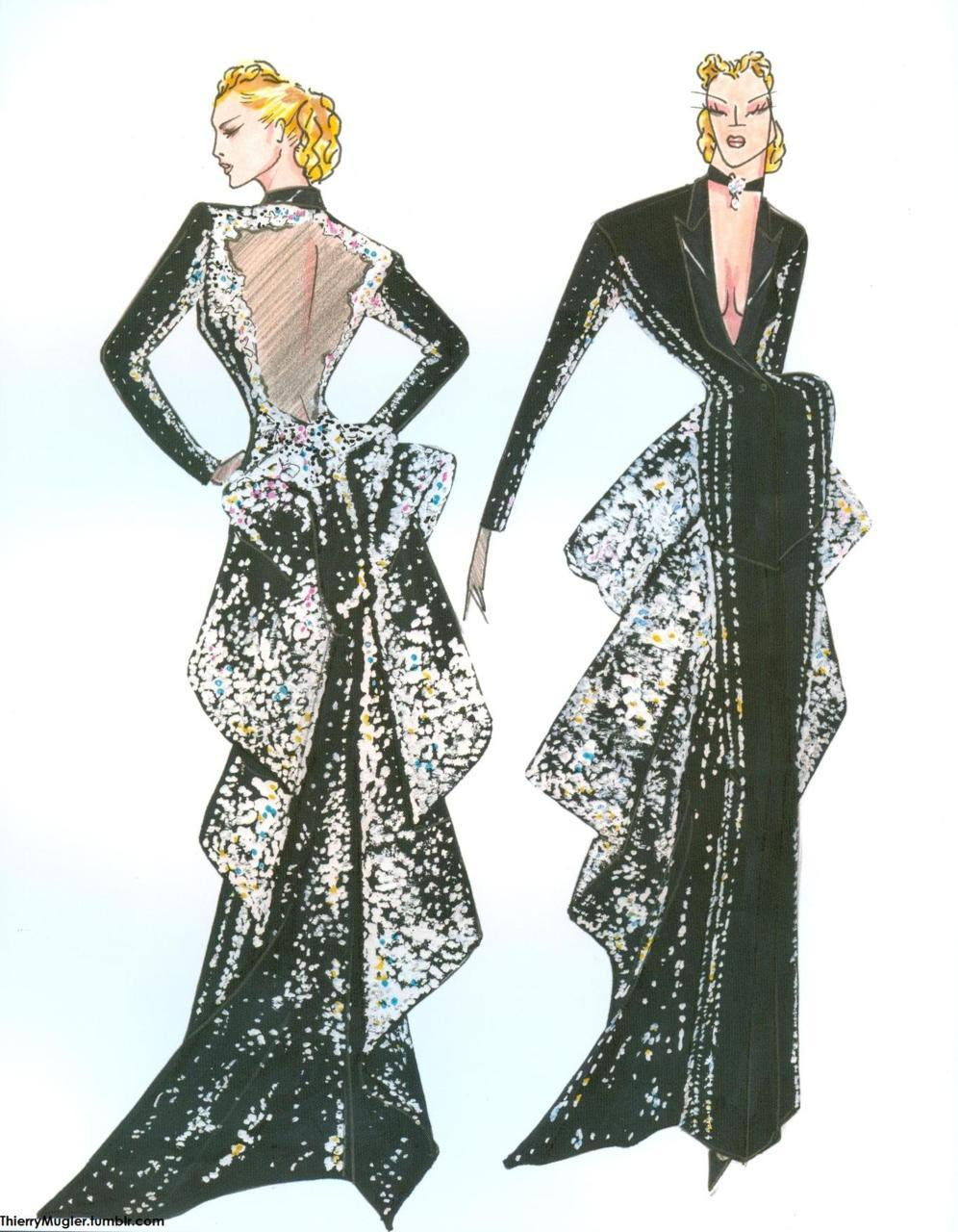 Sketch by Thierry Mugler for Simmonetta Gianfellici, a smoking jacket in black grain de poudre and satin with a transparent back and diamante-embroidered train.  Ritz Couture Collection, AW 1992-93  Thierry Mugler: Galaxy Glamour