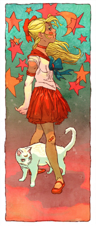 Katie asked me to hit the Sailor Moon fanarts.  I am totally unashamed about this.  I've been down with the Pretty Soldiers since grade school, man.  I even know the theme song.  By heart. Sailor Venus by Jake Wyatt
