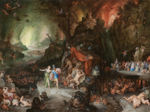 Jan Brueghel I  Aeneas and the Sybil in the underworld Painted on copper