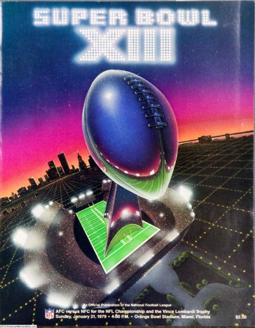 Super Bowl Poster Design Looking forward to the upcoming Super Bowl? Let's take a look in the past to this old poster design for the Super Bowl XIII from 1979 in a modern futuristic style.  __posted by weandthecolor//facebook//twitter