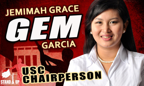 "education4all:  alabiskolar:  Jemimah Grace ""GEM"" Garcia for USC Chairperson! About GEM 2nd year, Juris Doctor College of Law Member, Order of the Purple Feather (UP Law Honor Society); Invitee for Internship: Sycip Salazar Hernandez and Gatmaitan Law Firm; College Scholar 2006-2009 (UP College of Mass Communication); President GMA Award for Excellence in Campus Journalism, 2005 (Manila Science High School) Councilor, University Student Council 2008-2009 (2nd Sem), 2009-2010; Editor-in-Chief, The Oblation (USC Official Publication) 2008-2010; Head, USC Mass Media Committee 2009-2010; Head, UP Fair Security Committee 2010-2011; Member, Programs Committee, University Job Fair 2011; Convenor, UP KILOS NA LABAN SA BUDGET CUT 2010; Convenor, UP KILOS NA PARA SA EDUKASYON AT KARAPATAN 2011-present; Delegate, UP Systemwide Sectoral Conference 2010; Delegate, KASAMA sa UP Congress 2010; Delegate, General Assembly of Student Councils 2007-2010; Delegate, National Union of Students of the Philippines National Conference 2010; Journalism Department Representative, College of Mass Communication Student Council 2007-2008; Chairperson, ANAKBAYAN- UP Diliman, 2007-2008; Resident Sister, Portia Sorority, 2009-present; Member, National Union of People's Lawyers, 2009-present; Member, Union of Journalists of the Philippines, 2005-2009; Volunteer, Free Jonas Burgos Movement, Member, KABATAAN Partylist, 2007-present; Member, MAKABAYAN Coalition, 2010-present; Member, Justice for Prof Leonard Co Movement.  Gem has been one of the most reliable leaders of the #education4all movement and a 'face' of the UP Diliman Strike. And unlike how divisive and secretly-pro-administration groups portray education advocates, Gem has consistently maintained a high level of academic performance. PLEASE SUPPORT. PLEASE REBLOG :)  Aside from being consistently excellent in her academics both as a Journalism major and a current Law student, Gem is also a proud member of Anakbayan. Please support our online campaign. PLEASE REBLOG."