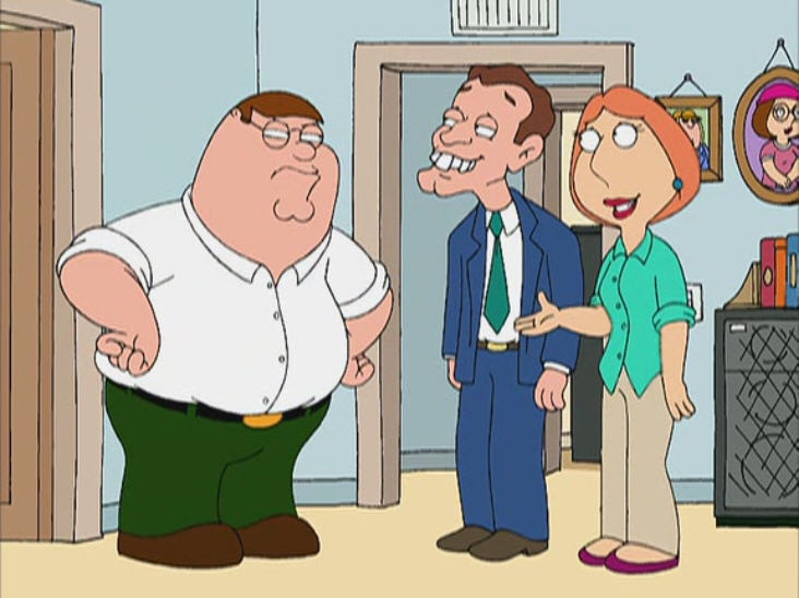 FAMILY GUY vs los ingleses Peter: Now, don't worry. These guys are trained to stay perfectly   still. Check it out. Hey, Margaret Thatcher…what the hell? I thought   you English guys never moved.Sentry: No. That's just our women. [both laughing]