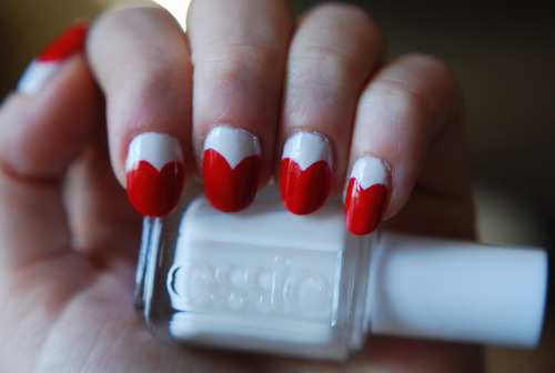 heynicenails:  Getting in the mood for valentines day with heart nails!  China Glaze - High Roller and Essie - Marshmallow