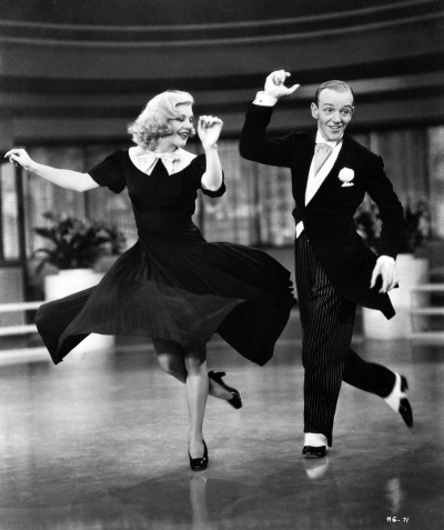 "historiful:  Actress Ginger Rogers (1911-1995), with actor Fred Astaire (1899-1987), in George Stevens' film, ""Swing Time,"" 1936."