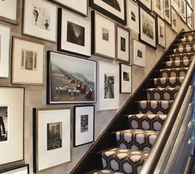 A stairwell of great pieces.  Showcase it!