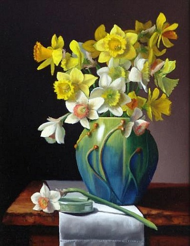 Claudia SeymourDaffodils in Door Pottery 2011