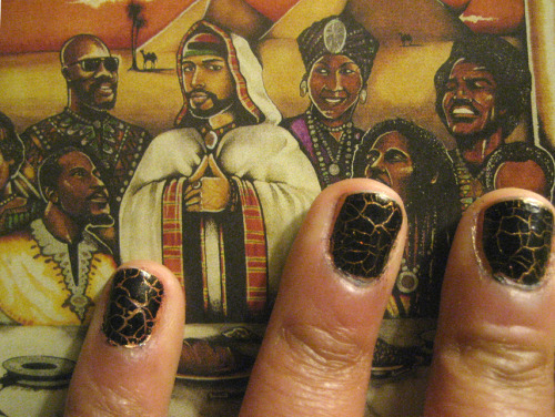 blaxidermy:  Blaxidermy - Nail Art- Khem & Khenet In Egyptian mythology, Black (Khem) represents night, death, resurrection, life, and fertility. Yellow & Gold (Khenet) represent the sun: eternal, divine, and imperishable. So, you get the uplifting & timely metaphor I'm working with on this black and gold crackle nail design… Photographed over Def Jef's Soul Food album cover.   Polish: Gold base is SUSU Nail Art Colors in No. 13, Black crackle is PROSPER Son Nut Nghe thuat — both purchased at Nghia in Ho Chi Minh City Thanks to @KimberlyThinks for the BHM Nail Art challenge! Read more: On color in Ancient Egypt: http://www.touregypt.net/featurestories/colorcode.htm Soul Food album cover by Thellus Singleton from waxpoetics magazine No. 35 Def Jef on Basquiat here: http://www.waxpoetics.com/2009/10/basquiat-in-the-place-to-be/   This is GORGEOUS. I've never seen a crackle quite like that! And I love the meaning behind the colors.