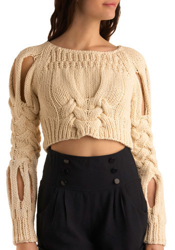 Wait. Someone else has made a warm cropped knit sweater! Maybe I can wear mine without shame! Please buy this and start an overwhelming trend! http://www.modcloth.com/store/ModCloth/Womens/Tops/Sweaters/Braid+New+World+Sweater