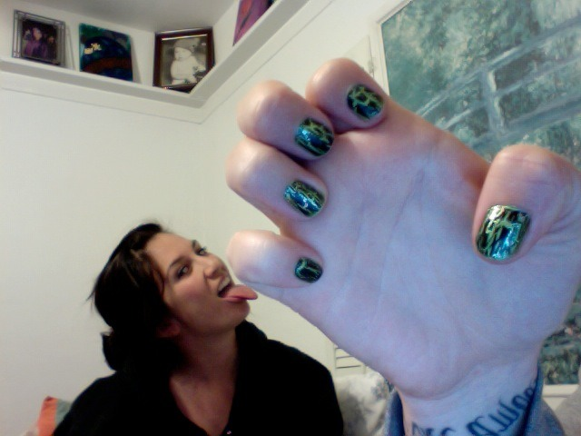 Thought I'd show you what the shatter looks like with acid green nail polish. I am channeling my inner Rita Skeeter. Nessa decided to pop into the picture (If you asked her, she would say she was forced) This is my 2,500th Tumblr post!