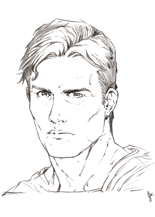 "It's a super-minor difference, but I tweaked the face from my ""Superman: Earth One"" Copy-of-a-shane-davis-sketch, and with the eyes less close together, and the nose a little higher, I likey.  Oh shit, it's 3AM. G'night or whatever :]"