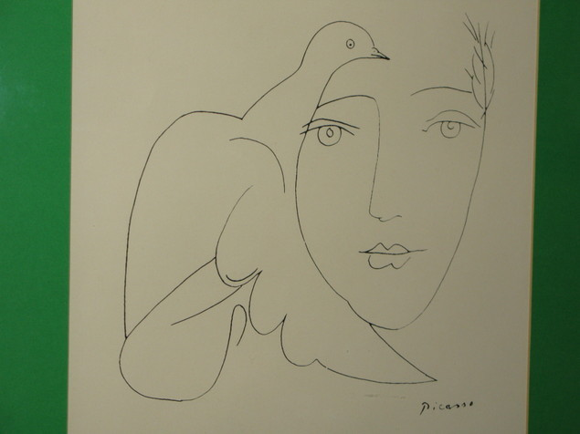 Picasso dove and woman face drawing