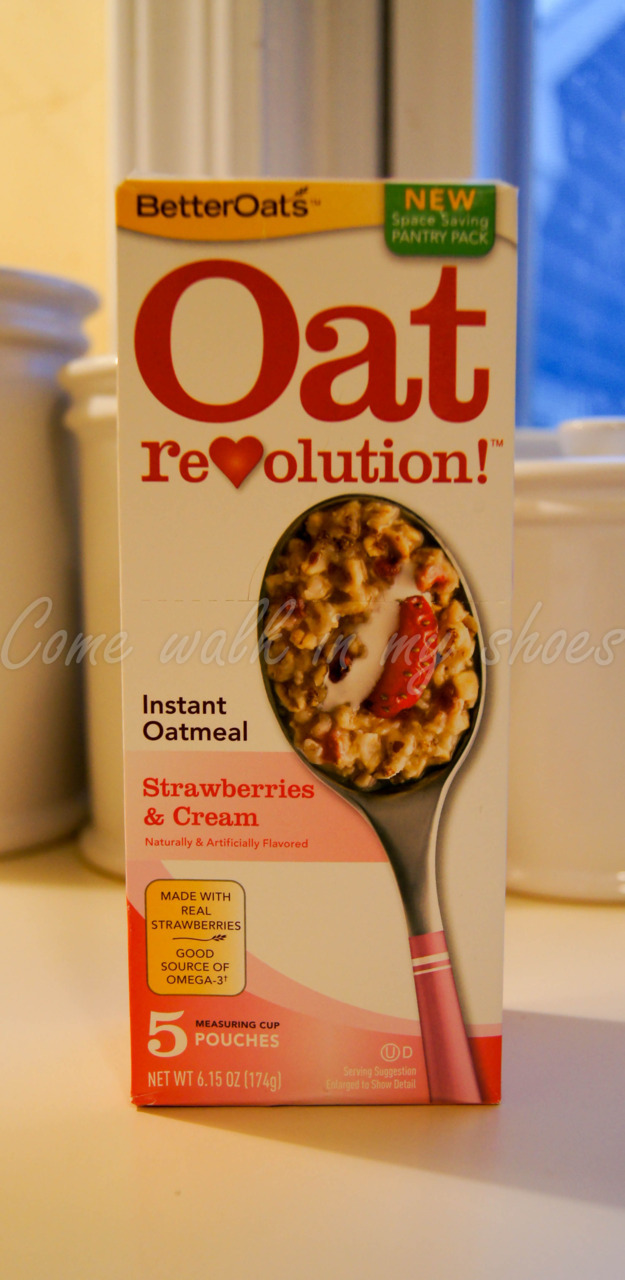So I found this Oat meal in the supermarket. I didn't buy it at first but when I was in the store the other day I saw it was on sale for only $1 I couldn't resist!  I'm glad I got it cause the Strawberry flavor is really good! It comes in a cool pouch that you just pour into your bowl and the pouch has a water fill line so you just fill the pouch with water, pop it in the microwave for 90 sec and done.  It's fast super easy way to eat breakfast in a healthy way! Serving size- 1 pouch 130 cal 15 fat cal 2 grams of fiber 3 grams of protein