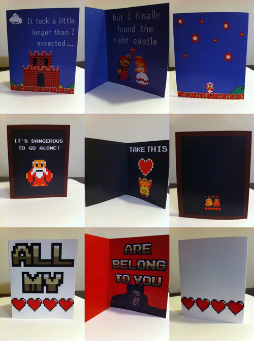 Geeky Valentine's Day Cards by PaperRockScisorz. You can purchase the templates for these adorably awesome VDay cards from the PaperRockScisorz Etsy shop and print them out for the special gamer in your life. The seller also plans to make ones for Tetris and Portal, so we'll keep you posted. [Via The Tanooki]