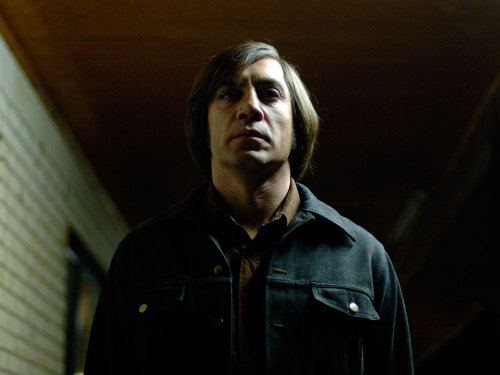"Javier Bardem, on getting his haircut for the film No Country for Old Men (full interview here): ""There was no  mirror. So I turn and I look at [the Coen Brothers] and they were  laughing so hard. One of them fell off on the floor. And I said, 'I need  a mirror. I need a mirror right now. What's going on here?' And I saw  it. And it was like 'Wow, that's really insane.' But it's the Coen  Brothers. It was a brilliant idea. I knew that they gave me 50 percent  of my character with that haircut. It was their idea."""