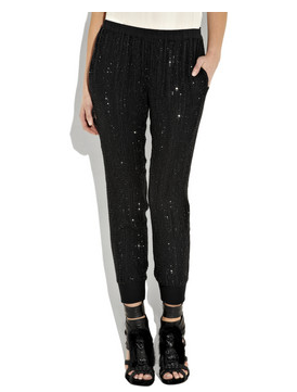 L'Agence - crystal beaded silk chiffon pants
