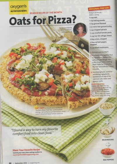 fitnesstreats:  Or the lazy cooking version for a whole grain pizza: www.fitnesstreats.com/2011/02/whole-grain-pizza.html