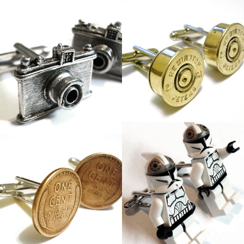 Retro Classy Cuff Links - $4.99-$31.99 alright, alright…  i'll jump on the valentine's day bandwagon.  if you're looking for the non-candy kind of sweets-for-your-sweet these cuff links are sure to be a hit with any man!  get nerdy star wars lego guys, classic coins, gunslinger bullets, even capitalistic monopoly!  and if they don't wear cuff links, they also have tie tacks! via dailywhatgeek