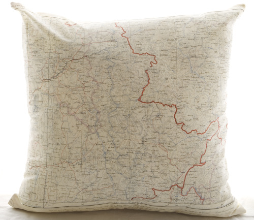 "New Silk aviator map cushions in stock  (Mandalay) size 22 x 22""  $185.00"
