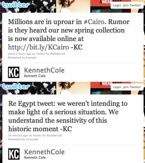 amyvernon:  Really @KennethCole ? I mean, REALLY? via @thedailywhat:  Tweets of the Day: Poor form, Kenneth Cole. Poor form. [tnw.]