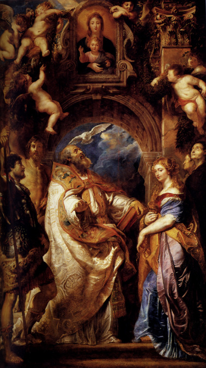 Peter Paul Rubens (1577-1640)Saint Gregory With Saints Domitilla, Maurus, And PapianusOil on canvas1607288 x 477 cm