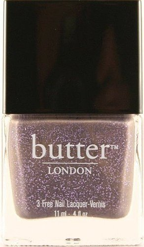 """No More Waity, Katie"" by butter LONDON, inspired by the upcoming royal wedding. Can we shame this into nonexistence before it arrives? No? You like it? Damn. I do like the color, but if that's standard-sized glitter, color me bored. If it's more of a foil, then I am on board…but the name is awful. Via"