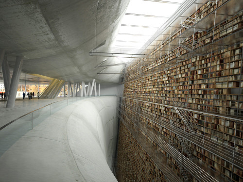 bookshelves:  A concept design for the Stockholm Public Library.