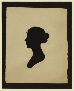 Title: [Silhouette of woman facing left, no. 5] Creator(s): Peale, Charles Willson, 1741-1827, artist Date Created/Published: [between 1761 and 1827] Medium: 1 cut-out. Summary: Bust silhouette portrait shows an unidentified woman facing left with a bun in her hair, and strand of hair over her forehead.