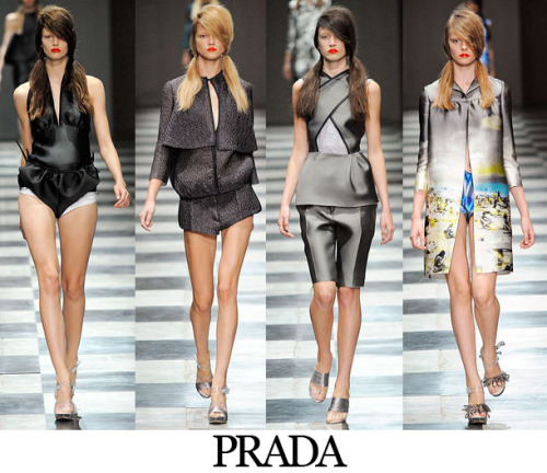 FashBack: Prada Spring 2010 Prada gave us structured pieces in satin, think bringing the corporate world to the beach— a perfect  contrast.The colors were rather dull. The fabric choice for each piece  is commendable. Not one design looked complicated or overdone; everything was wearable because of the minimal daywear feel of the designs. Looks like Miuccia isn't leaving her throne any time  soon. ;) (c) Fashion Firewoman  P.S. FashBack= Fashion Flashback, a new section in my blog. ;)