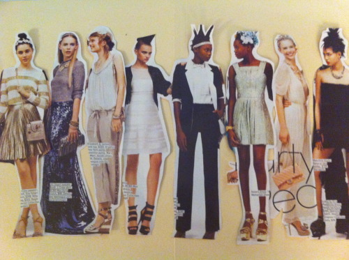 "Title: Collage No. 1 Media: Cutouts from Teen Vogue Prom Guide ""Party People"" feature arranged on an open manila folder. Photographed with iPhone 4."