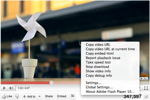 YouTube - Advanced menu options when right-clicking in the video player. /via jeffsoo