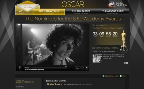 """God of Love"" featured on the Oscar website."