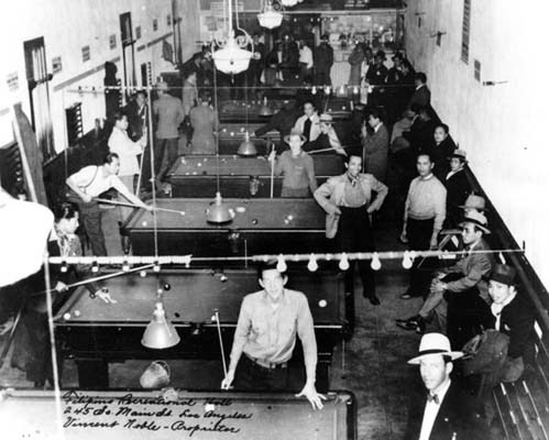 fuckyeahapihistory:  Filipino American recreation hall at 245 S. Main Street, Los Angeles. 1940.  Though most of the Filipinos living in Southern California today made their residence in the United States after the Immigration Act of 1965, immigrants from the Philippines established settlements in the region decades before. A 1924 immigration law prohibited any immigration from Asian countries. However, since the Philippines was U.S. territory, immigration to the United States was not restricted for Filipinos. Between the years of 1924 and 1934, an additional law was enacted to restrict the number of Filipinos who could enter the States to 50 per year. The first substantial wave of Filipinos settled in Los Angeles in the 1920s. By the first quarter of the 20th century, a small Filipino enclave was developing in the impoverished Downtown area, between Main and Los Angeles Streets. Due to racially restrictive covenants and discrimination, this was the only area in Los Angeles that the rental market allowed them to rent at that time.