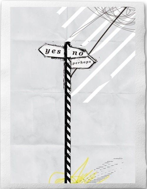 "No.10 - A C O L L A G E A D A Y- February 4th 2011- ""Yes No Perhaps""-Print on Handmade Watercolor Paper Last collage for a collage a day this week, see you next week! No10  A  C O L L A G E  A   D A Y February 4th 2011 by froschkind"