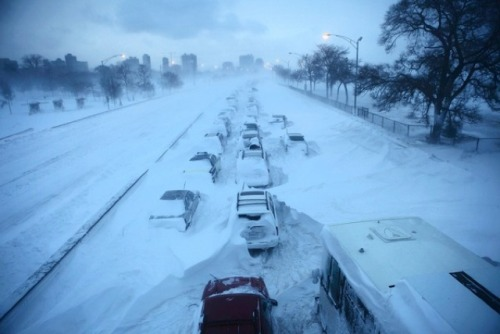 Cars Abandoned In The Snow on Chicago's Lake Shore Drive