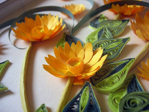 Quilling paper picture Flowers 3D effect (by Creartive Shop)