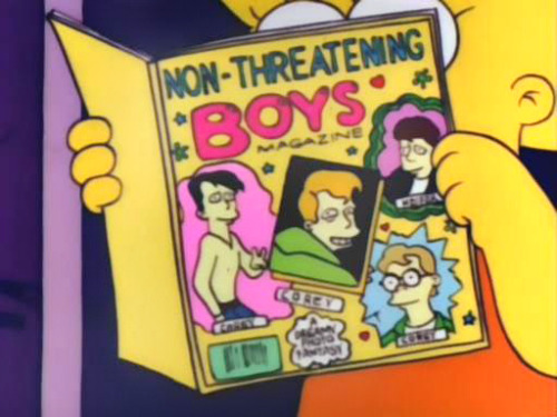 lisasimpsonbookclub:  Lisa devours a copy of Non-Threatening Boys Magazine.